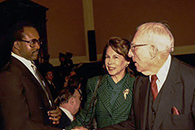 Photo of Larry Brown, Geraldine Fox, and Congressman Claude Pepper.