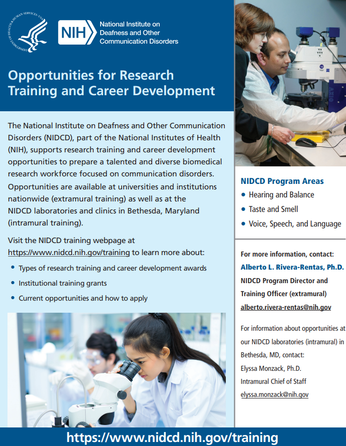 Opportunities for Research Training & Career Development handout
