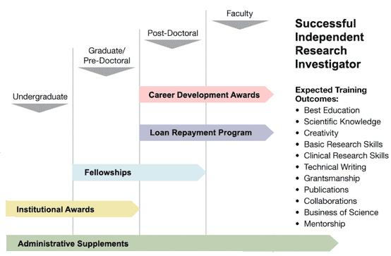 Path to become a successful independent research investigator. See available award mechanisms below.