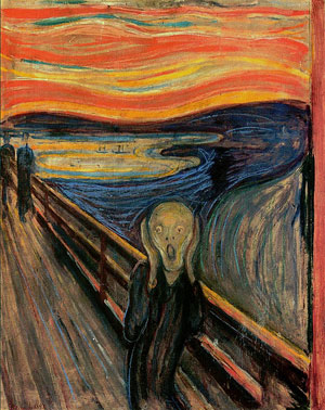 Tinnitus is a ringing in the ears that won't go away.  (The Scream, Edvard Münch, 1893)