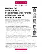 Communication Considerations for Parents of Deaf and Hard-of-Hearing Children