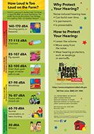 Bookmark depicting common farm sounds and their associated decibel levels.