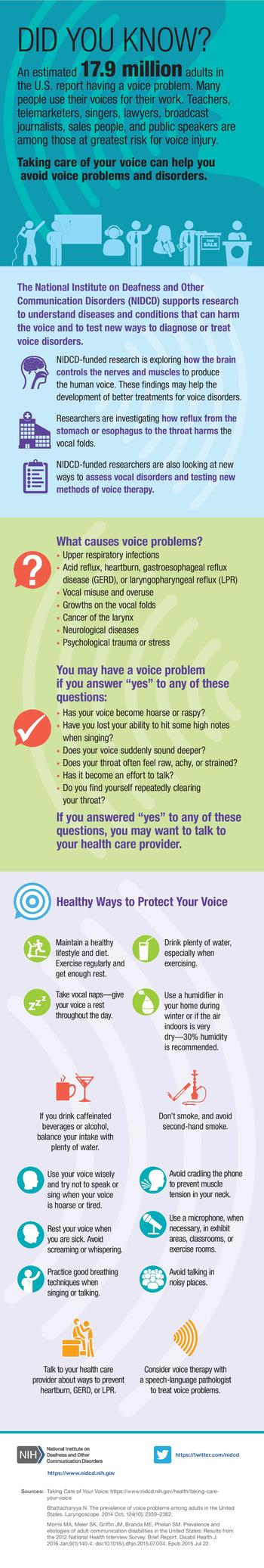 An infographic summarizing information and statistics about voice problems in U.S. adults.