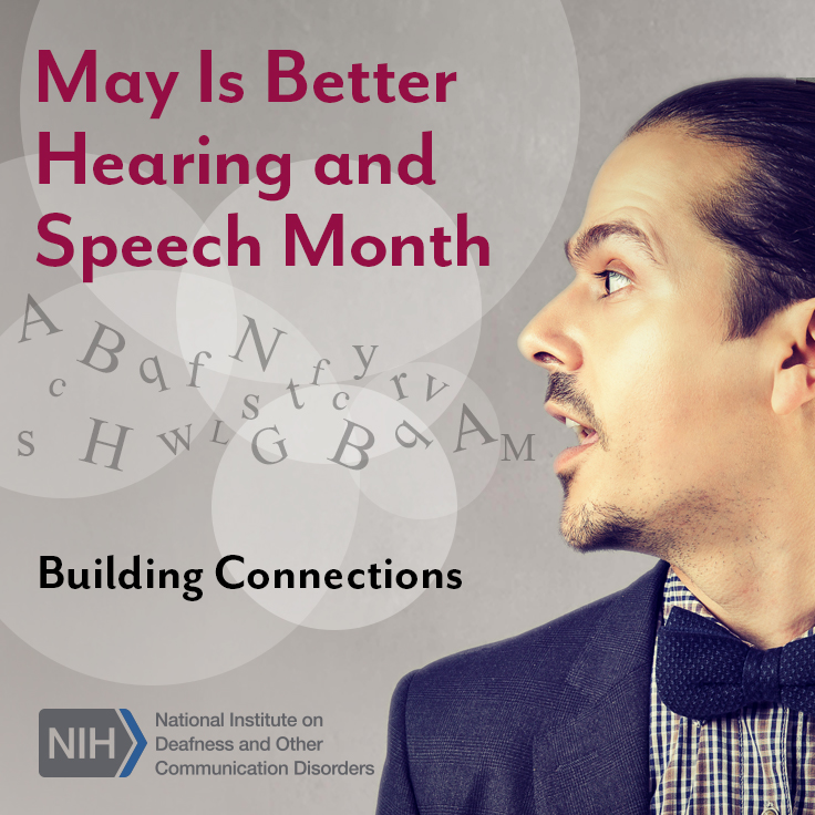A man's face as he is speaking, with conceptual letters floating out of his mouth into the air. Text reads: Building Connections.