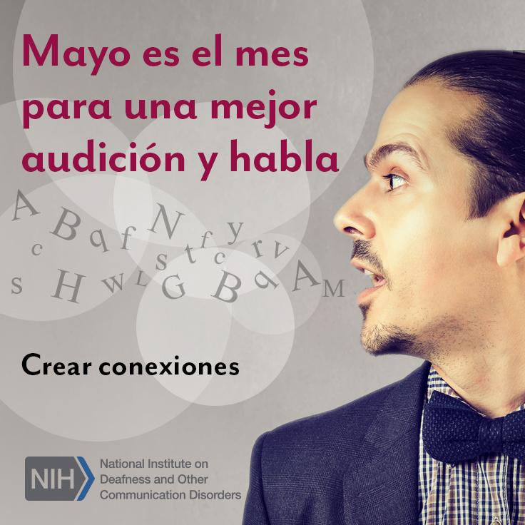 Perfil de la cara de un hombre mientras habla. Hay letras conceptuales saliendo de su boca y flotando en el aire.  El texto dice: Crear conexiones.