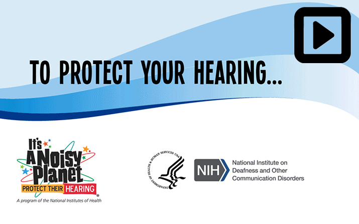 This animated GIF illustrates the three ways to protect your hearing from noise-induced hearing loss: lower the volume, move away from the noise, and use hearing protectors, such as earplugs or earmuffs.