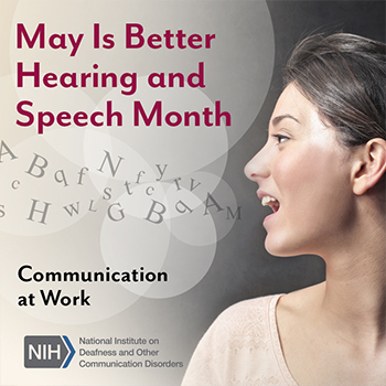 A woman's face as she is speaking, with conceptual letters floating out of her mouth into the air. Text reads: Communication at work.