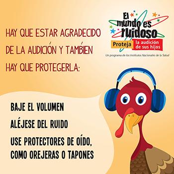 Una caricatura de un pavo usando con orejeras. El texto dice: Hay que estar agradecido de la audición y también hay que protegerla: baje el volumen, aléjese del ruido, use protectores de oído, como orejeras o tapones.