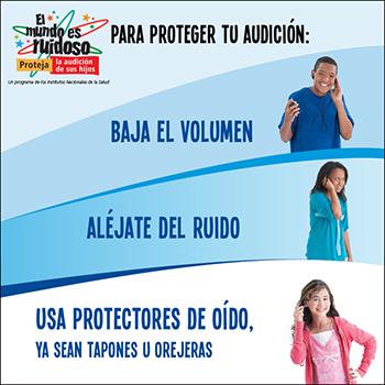 Niños muestran cómo proteger la audición al bajar el volumen, alejarse del ruido y al usar protectores de oído.