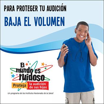 Un niño preadolescente escuchando su reproductor de música portátil con auriculares. El texto dice: Para proteger tu audición, baja el volumen.