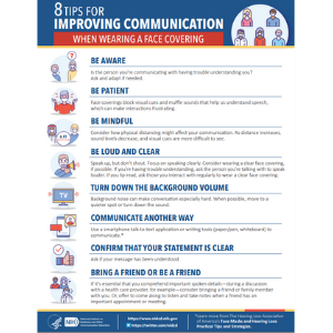 NIDCD Mask Infographic - 8 Tips for Improving Communication When Wearing a Face Covering.
