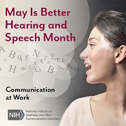 """A photo of a woman's face as she is speaking, with conceptual letters floating out of her mouth into the air. Text reads: """"Communication at work."""""""