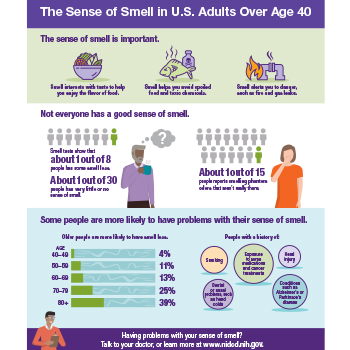 An infographic summarizing information and statistics on the sense of smell in U.S. adults over age 40.