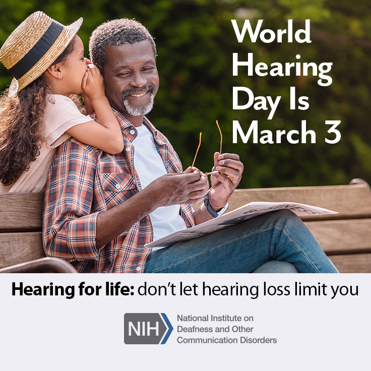 World Hearing Day is March 3. Image of a young girl whispering to her grandfather who is sitting on a park bench.