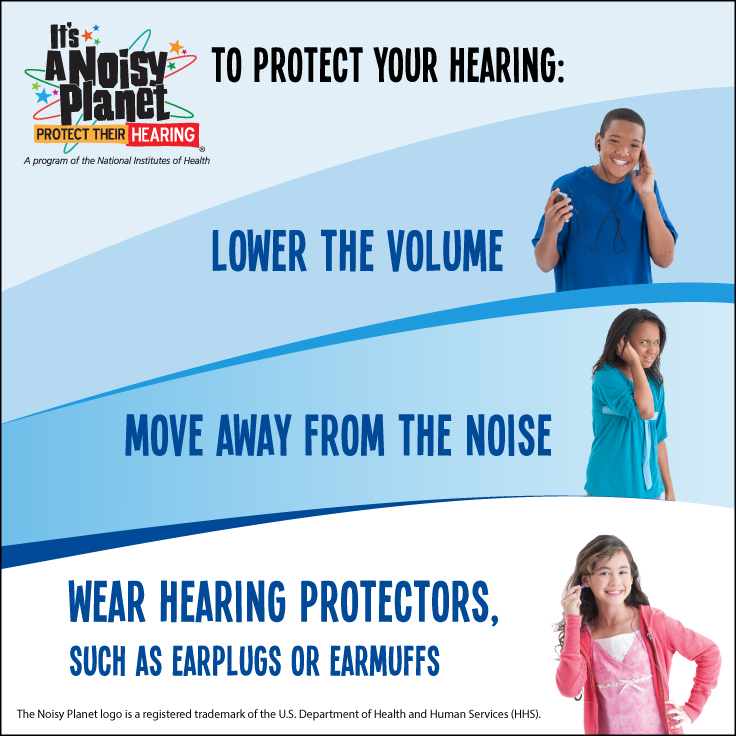 Kids demonstrating how to protect their hearing by lowering the volume, moving away from the noise, and using hearing protection.