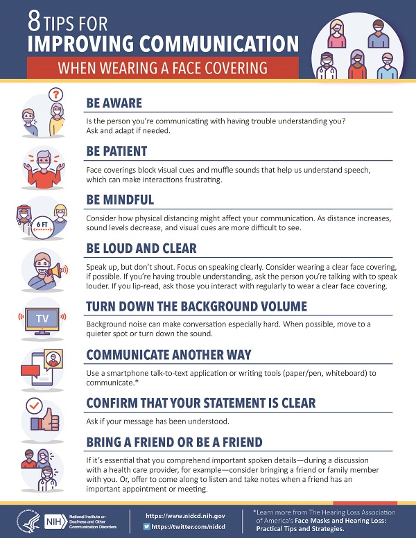 NIDCD Mask Infographic - 8 Tips for Improving Communication When Wearing a Face Covering