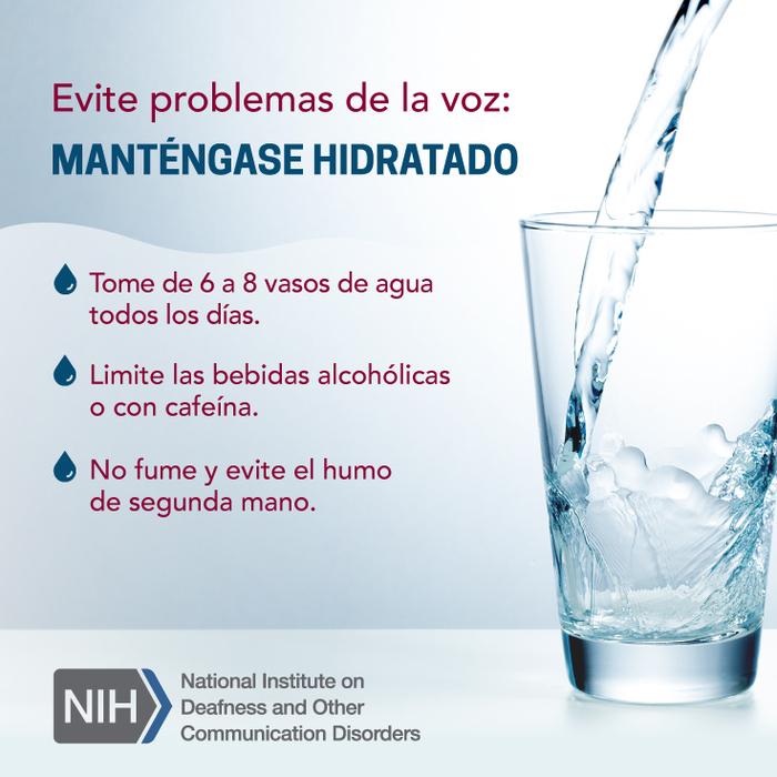 Evite problemas de la voz; Manténgase hidratado. Tome de 6 a 8 vasos de agua todos los días. Limite las bebidas alcohólicas o con cafeína. No fume y evite el humo de segunda mano. Logo de los Institutos Nacionales de la Salud / Instituto Nacional de la Sordera y Otros Trastornos de la Comunicación
